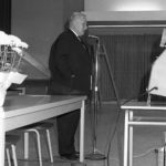 Charles Proctor (Principal of Finch Avenue East Public School in the late 1950s) addresses the crowd (Photo: Bill Chambers)