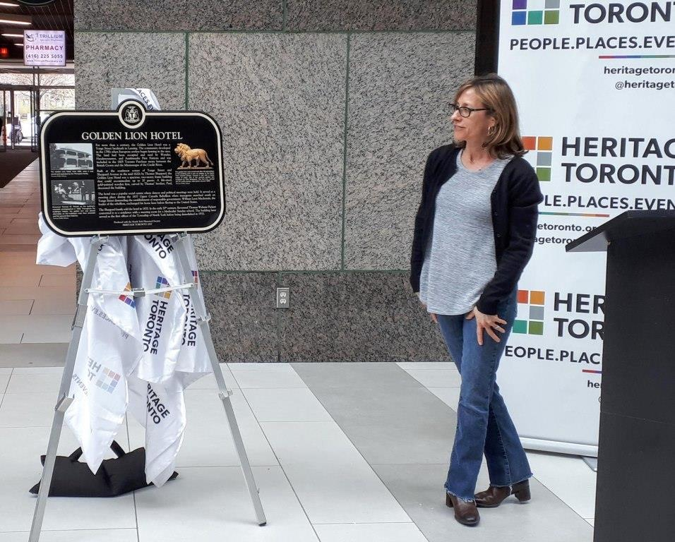 NYHS director Marla Weingarten at the unveiling of new Heritage Toronto plaque, North York City Centre, May 4, 2019