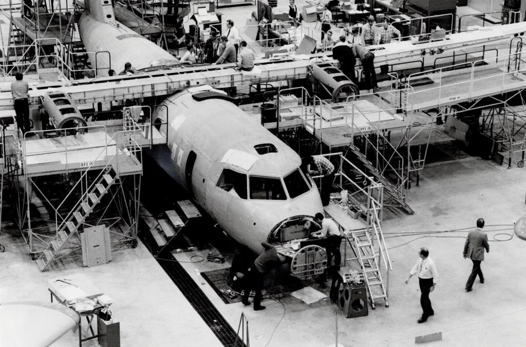 De Havilland's Dash 8, being put together at Downsview Airport. (1983 photo by Keith Beaty courtesy Toronto Public Library under Toronto Star License)