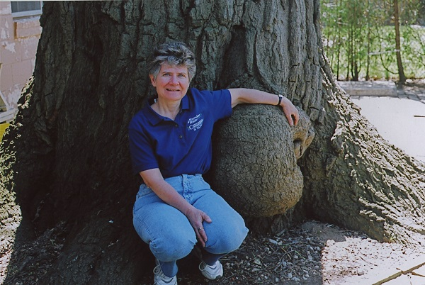 Edith George with one of the largest and oldest oak trees in Toronto, located on Coral Gable Drive near Weston Road and Sheppard Avenue in North York