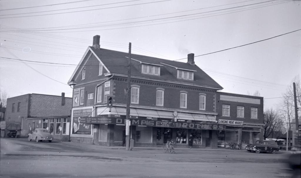 Intersection of Sheppard Avenue and Yonge Street (northwest corner) in 1953. Photo by James V. Salmon. Courtesy Toronto Public Library.