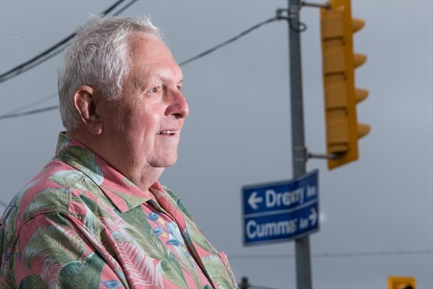 Tim Morris, a descendent of the pioneering Toronto family the Cummers, poses for a photo near the corner of Yonge Street and Cummer Avenue in Willowdale in 2017. - Jesse Winter/Toronto Star file photo