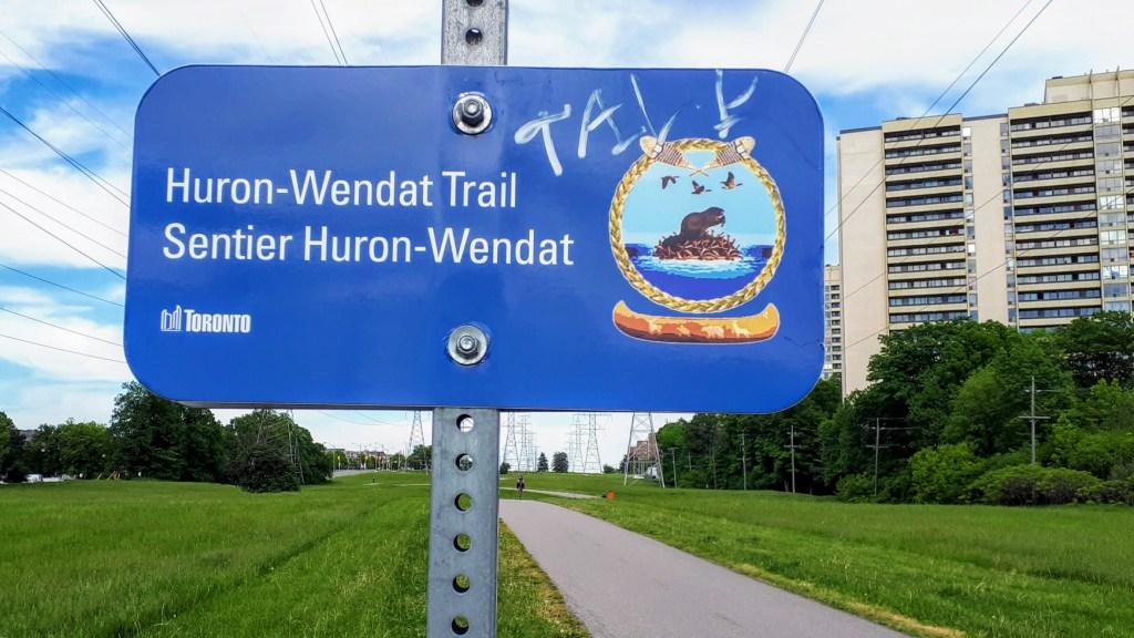 The Huron-Wendat Trail, opened in 2013, runs along North York's Finch Hydro Corridor by a site (known as the Parsons Site) where archeological remains of an ancestral Huron-Wendat village were discovered.